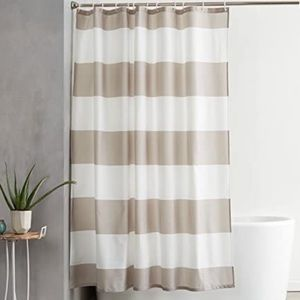 Shower Curtain 72-Inch, Gray Stripe AND Leaf Hooks
